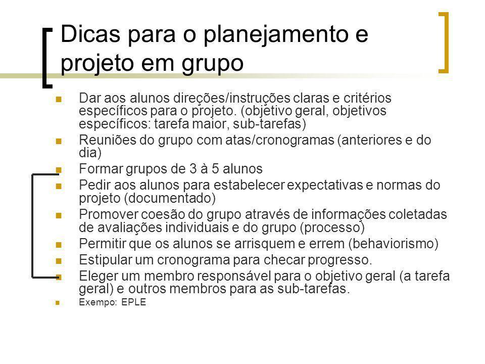 Dicas para o planejamento e projeto em grupo