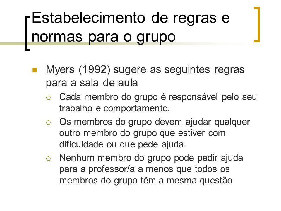 Estabelecimento de regras e normas para o grupo