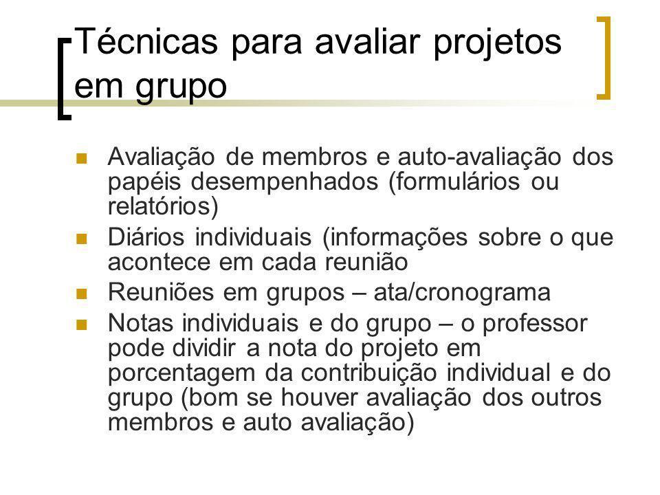 Técnicas para avaliar projetos em grupo