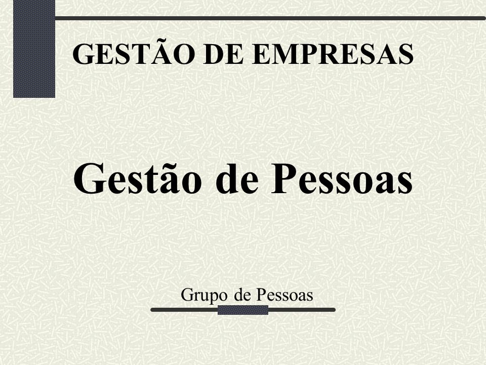 GESTÃO DE EMPRESAS Gestão de Pessoas