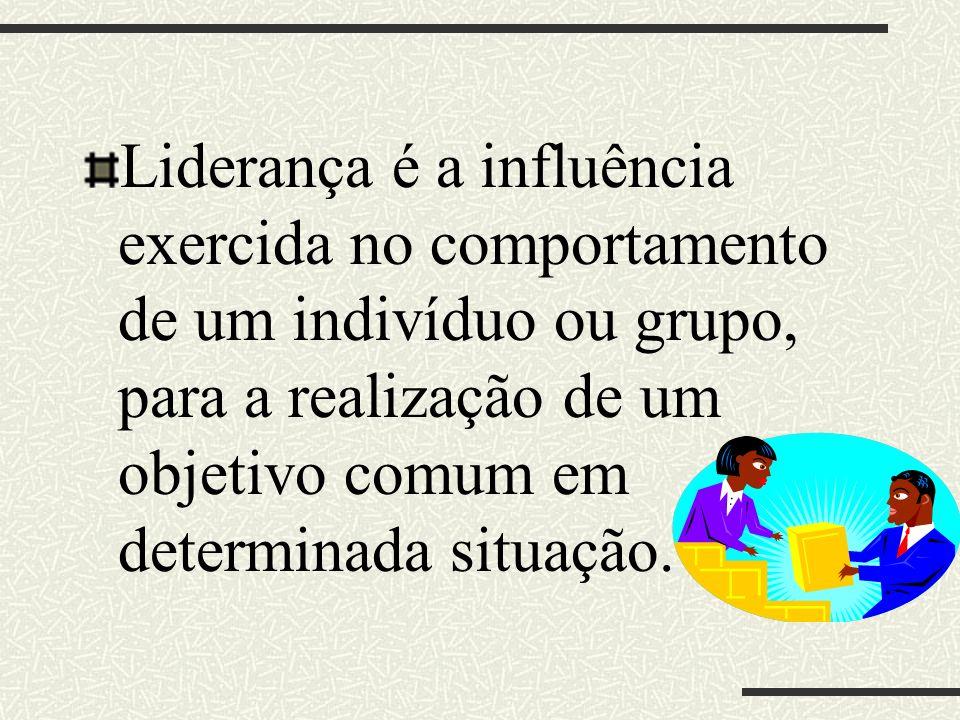 Liderança é a influência exercida no comportamento de um indivíduo ou grupo, para a realização de um objetivo comum em determinada situação.