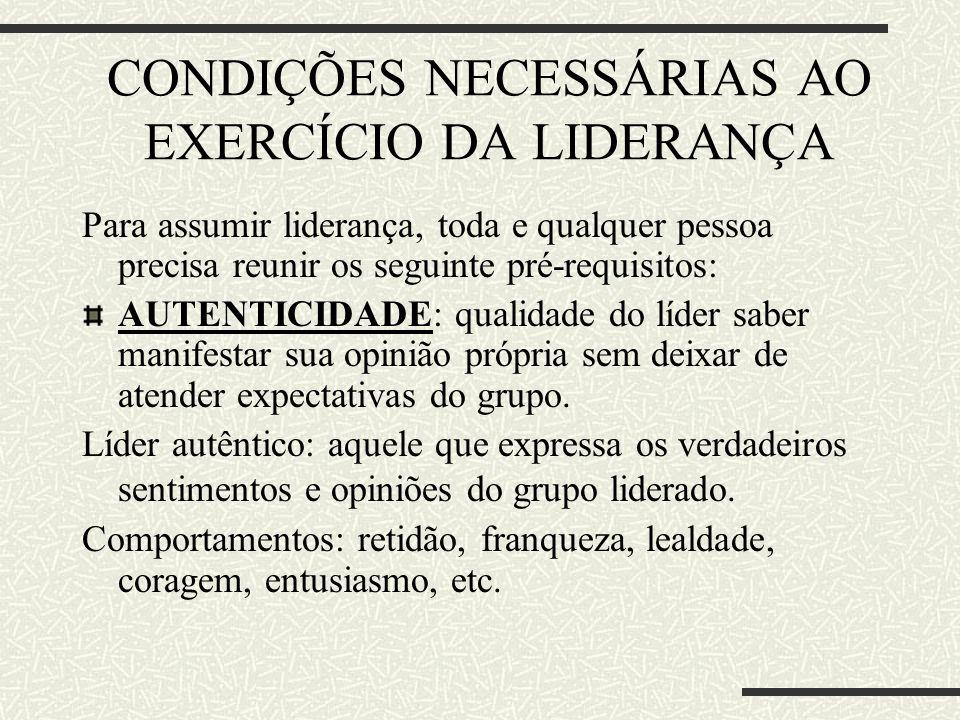 CONDIÇÕES NECESSÁRIAS AO EXERCÍCIO DA LIDERANÇA
