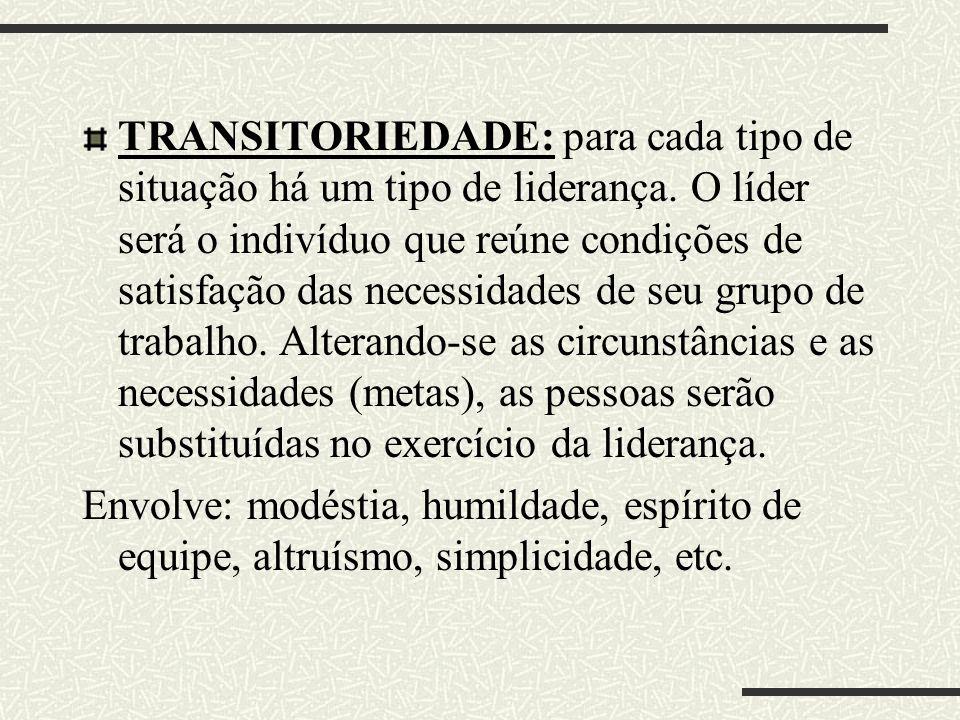 TRANSITORIEDADE: para cada tipo de situação há um tipo de liderança