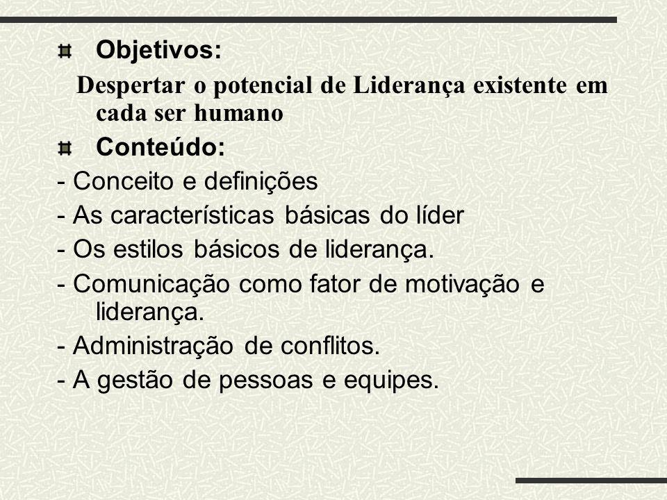 Objetivos: Despertar o potencial de Liderança existente em cada ser humano. Conteúdo: - Conceito e definições.