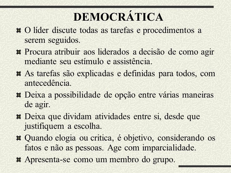 DEMOCRÁTICA O líder discute todas as tarefas e procedimentos a serem seguidos.