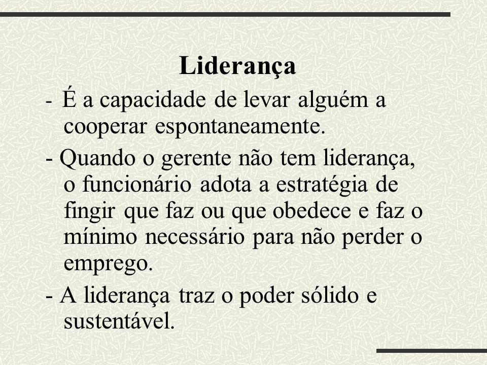 Liderança - É a capacidade de levar alguém a cooperar espontaneamente.