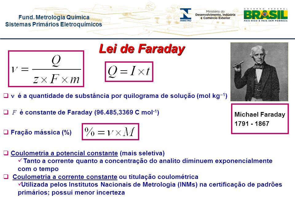 Lei de Faraday n é a quantidade de substância por quilograma de solução (mol kg1) F é constante de Faraday (96.485,3369 C mol-1)
