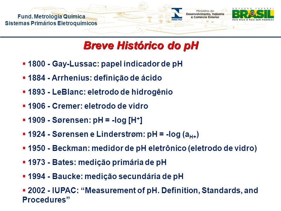 Breve Histórico do pH 1800 - Gay-Lussac: papel indicador de pH