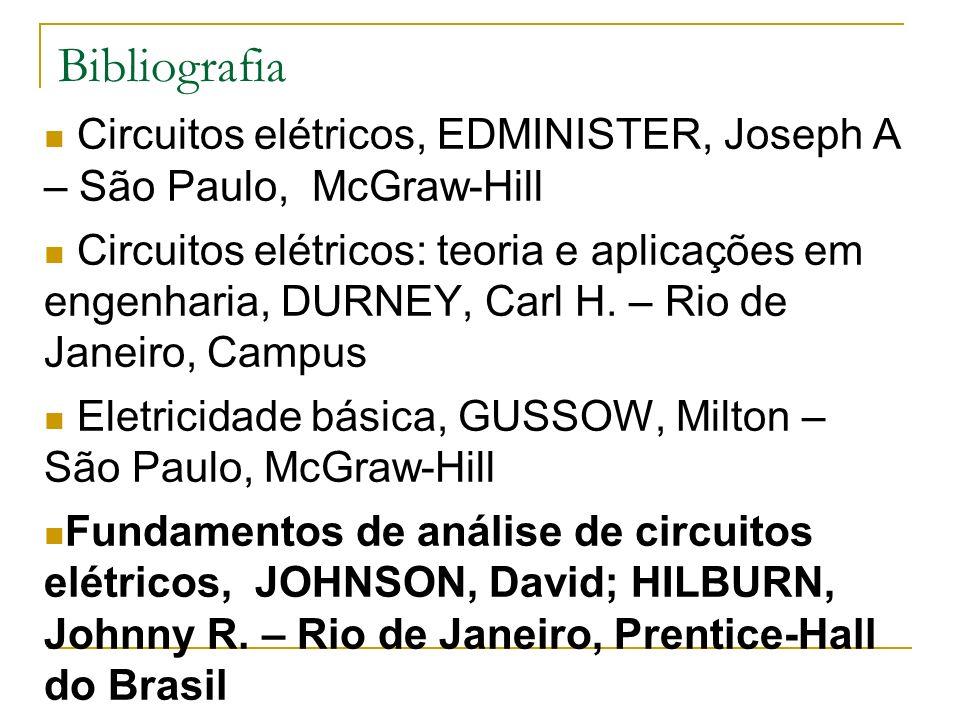 Bibliografia Circuitos elétricos, EDMINISTER, Joseph A – São Paulo, McGraw-Hill.