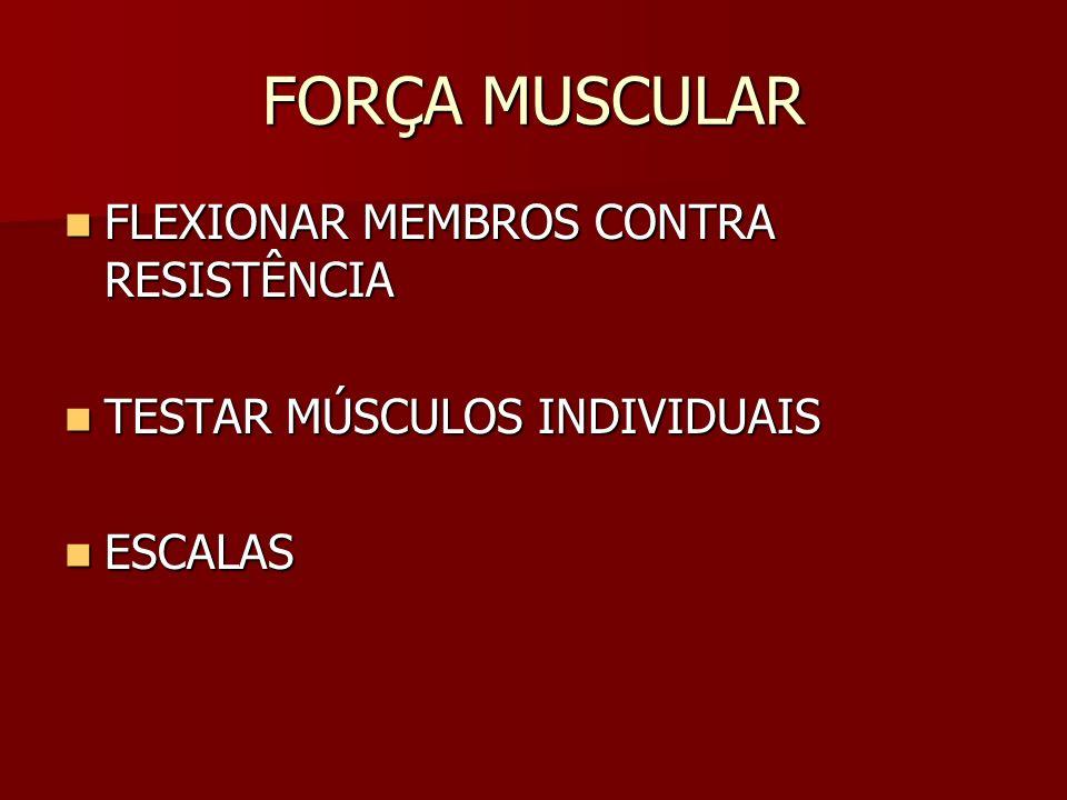 FORÇA MUSCULAR FLEXIONAR MEMBROS CONTRA RESISTÊNCIA