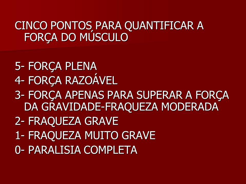 CINCO PONTOS PARA QUANTIFICAR A FORÇA DO MÚSCULO