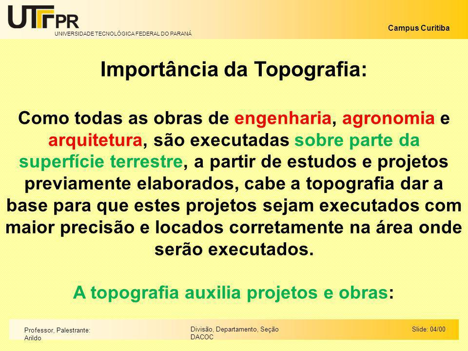 Importância da Topografia: A topografia auxilia projetos e obras: