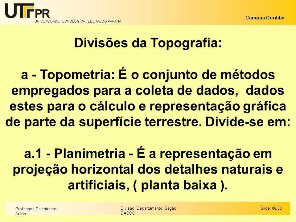 Divisões da Topografia: