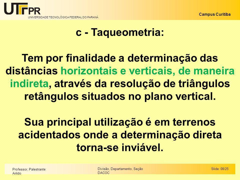 c - Taqueometria: