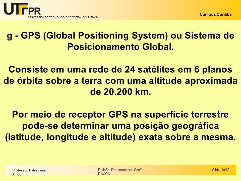 g - GPS (Global Positioning System) ou Sistema de Posicionamento Global.