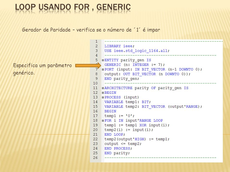 LOOP usando FOR , generIC