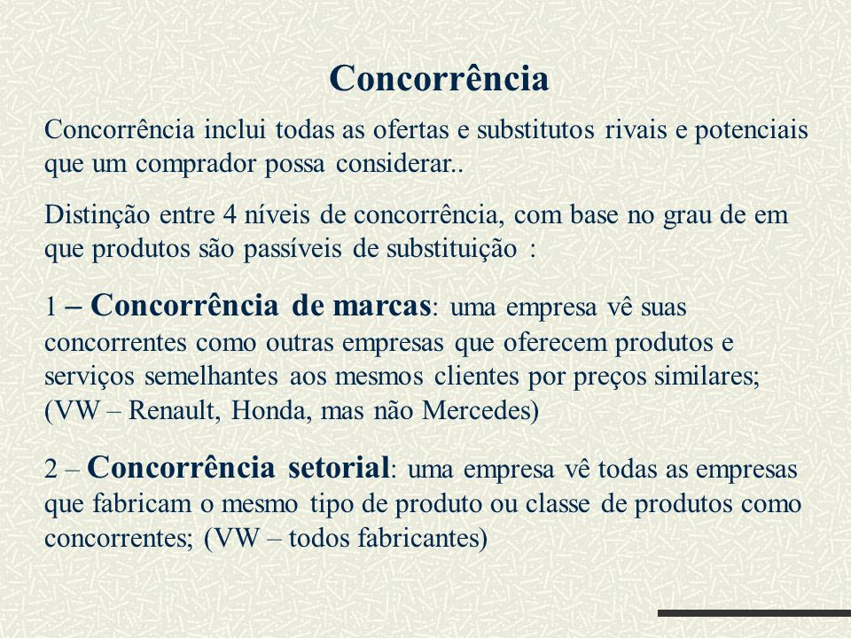 ConcorrênciaConcorrência inclui todas as ofertas e substitutos rivais e potenciais que um comprador possa considerar..