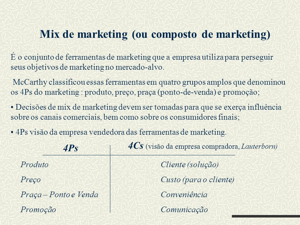 Mix de marketing (ou composto de marketing)