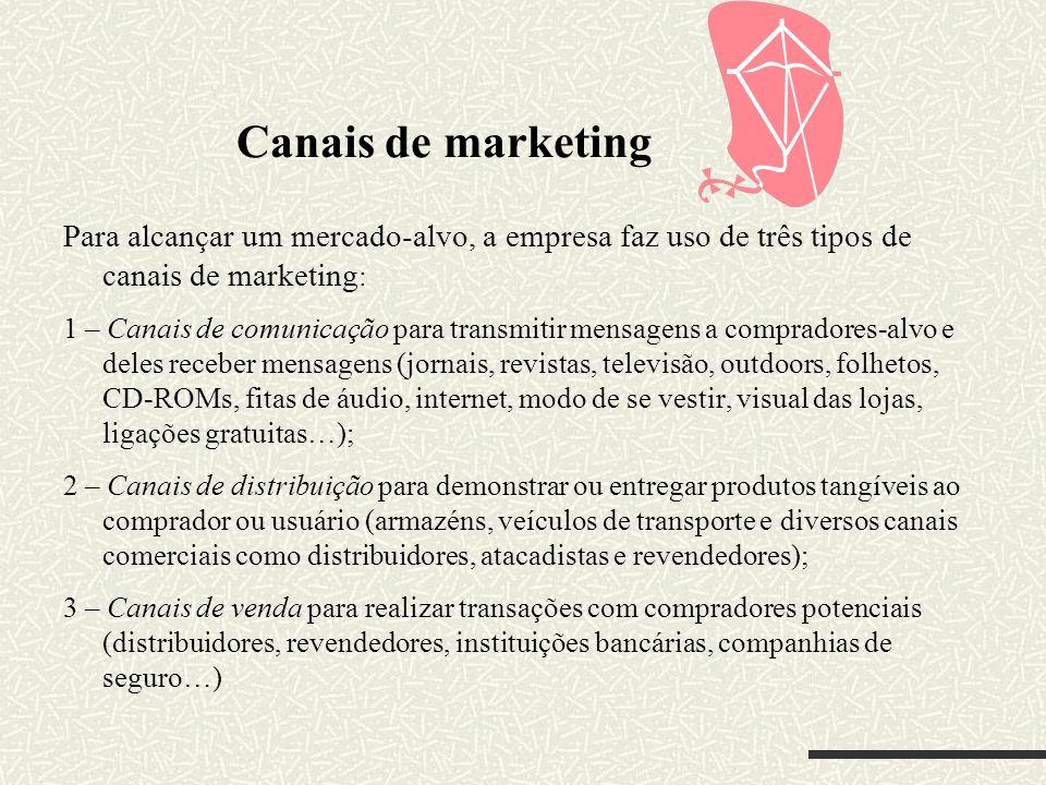 Canais de marketingPara alcançar um mercado-alvo, a empresa faz uso de três tipos de canais de marketing: