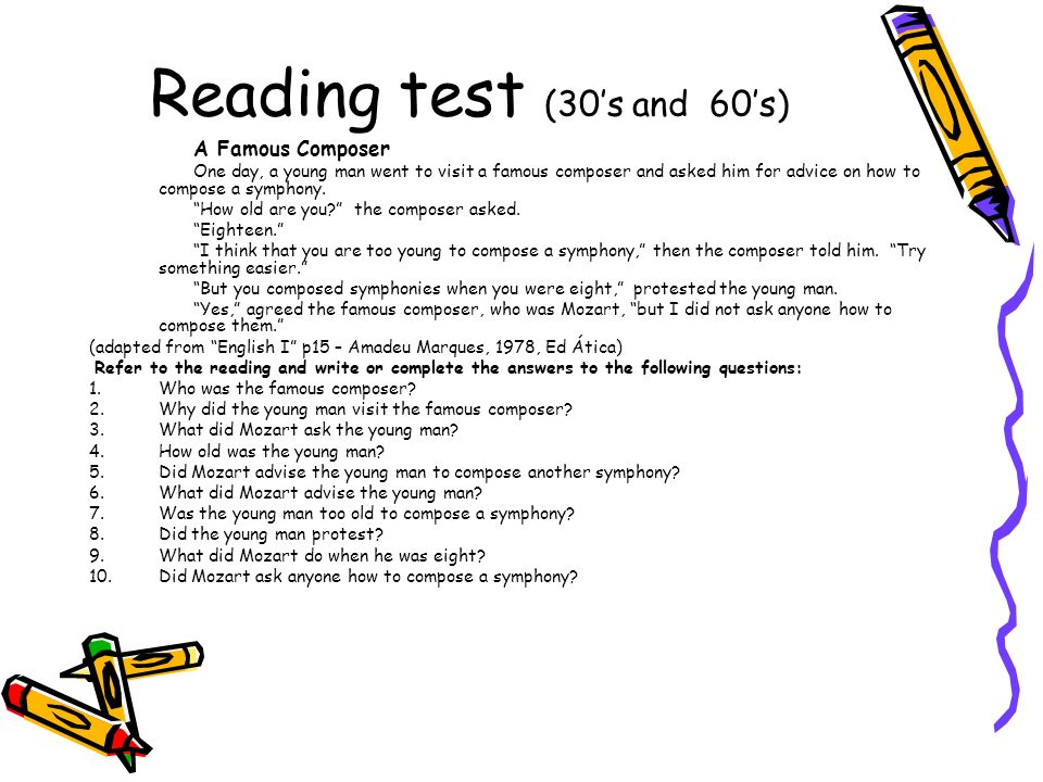 Reading test (30's and 60's)
