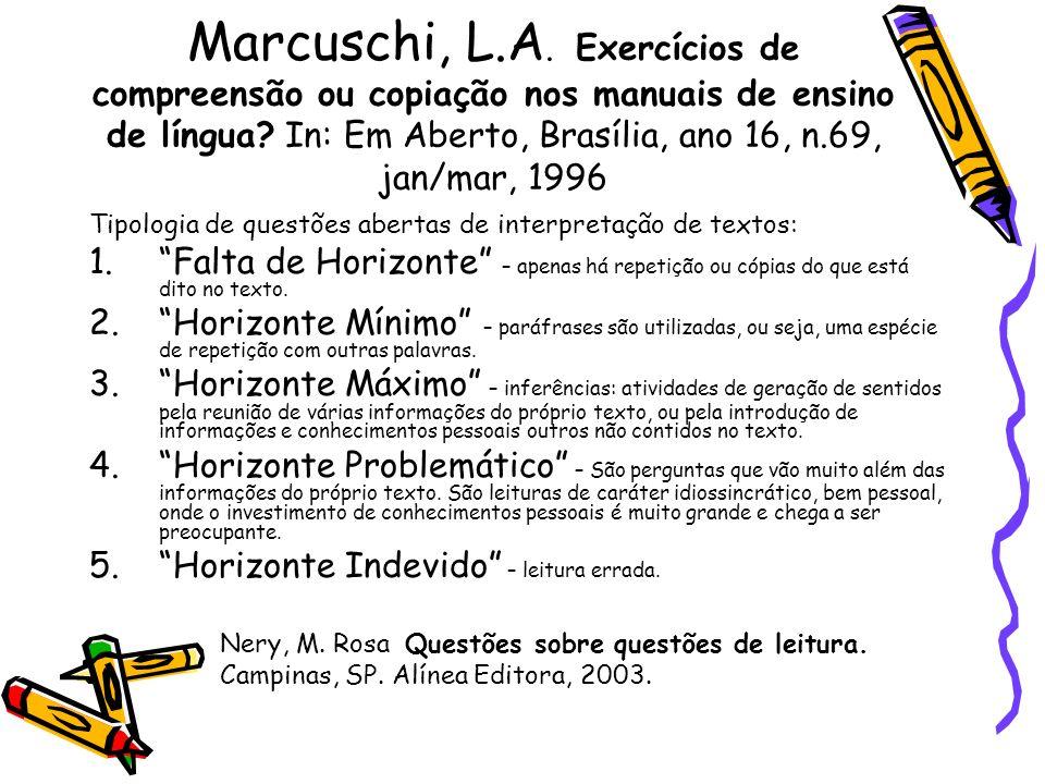 Marcuschi, L.A. Exercícios de compreensão ou copiação nos manuais de ensino de língua In: Em Aberto, Brasília, ano 16, n.69, jan/mar, 1996