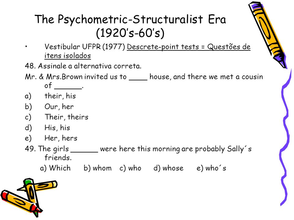 The Psychometric-Structuralist Era (1920's-60's)