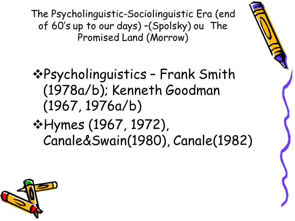 Hymes (1967, 1972), Canale&Swain(1980), Canale(1982)
