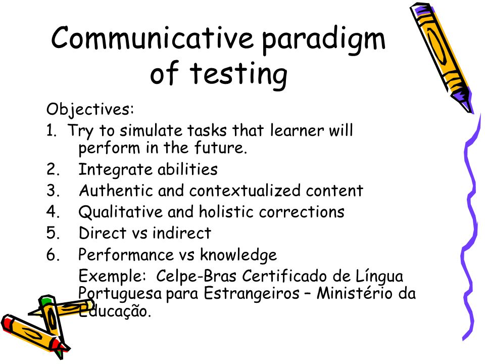 Communicative paradigm of testing