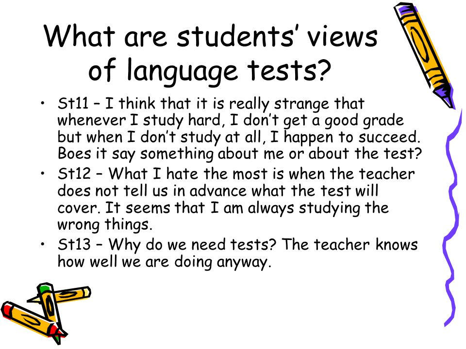 What are students' views of language tests