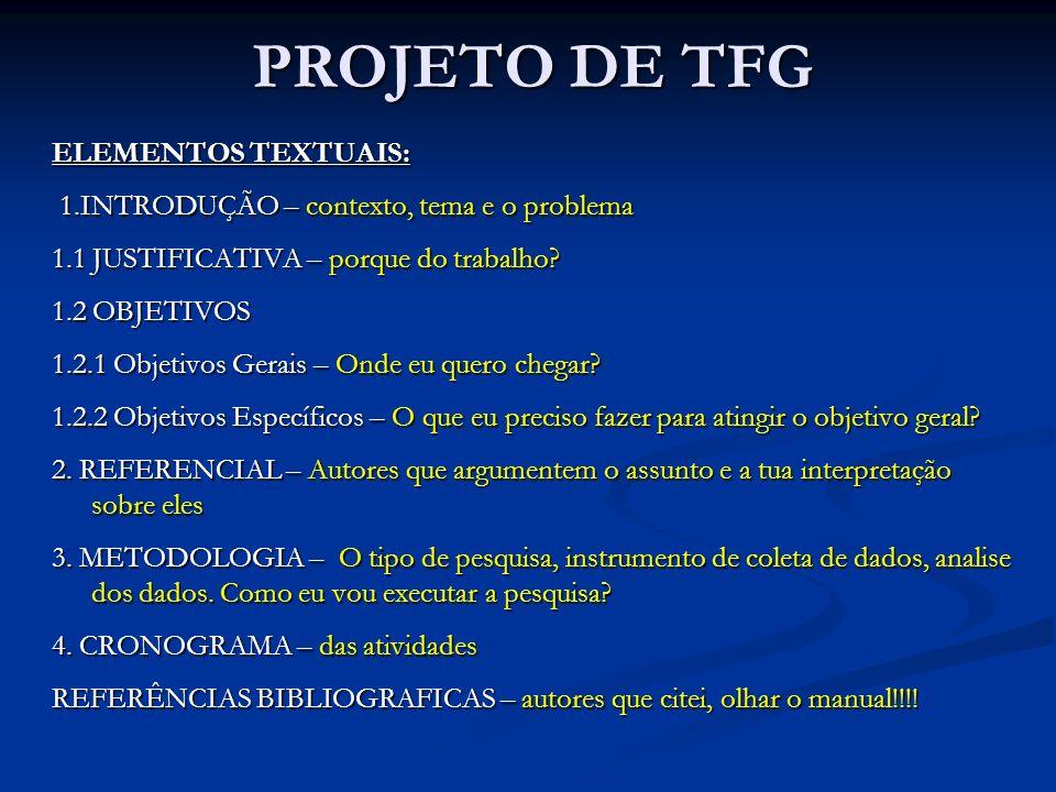 PROJETO DE TFG ELEMENTOS TEXTUAIS: