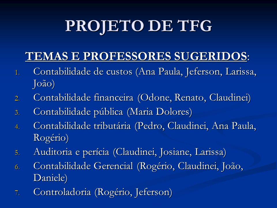 TEMAS E PROFESSORES SUGERIDOS: