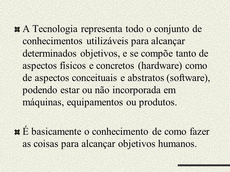 A Tecnologia representa todo o conjunto de conhecimentos utilizáveis para alcançar determinados objetivos, e se compõe tanto de aspectos físicos e concretos (hardware) como de aspectos conceituais e abstratos (software), podendo estar ou não incorporada em máquinas, equipamentos ou produtos.