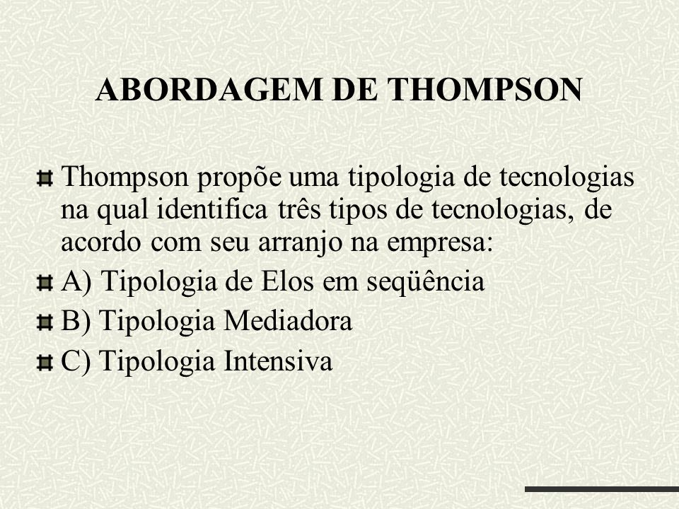 ABORDAGEM DE THOMPSON