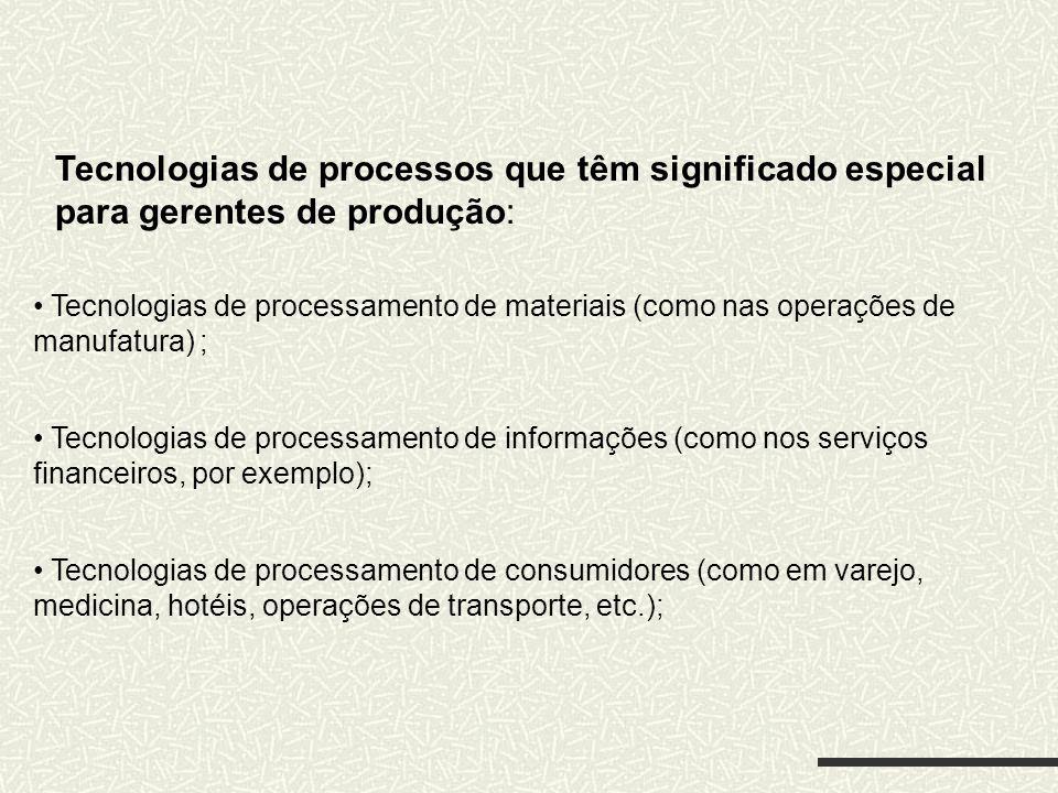 Tecnologias de processos que têm significado especial para gerentes de produção: