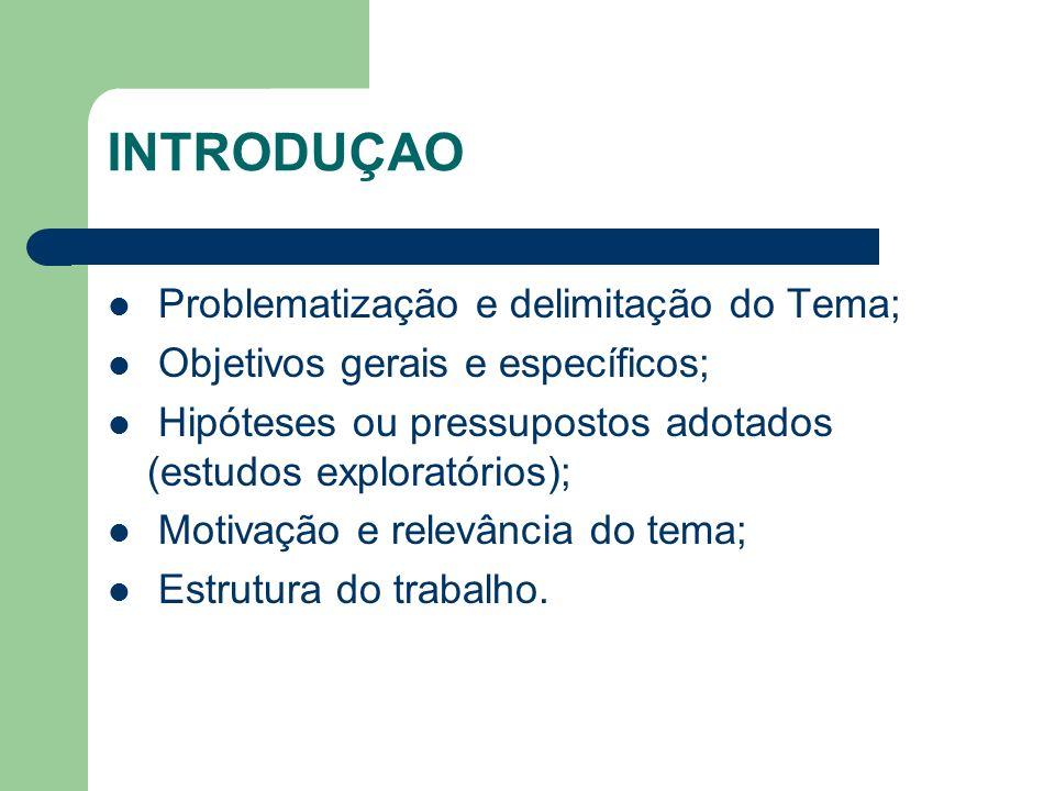 INTRODUÇAO Problematização e delimitação do Tema;