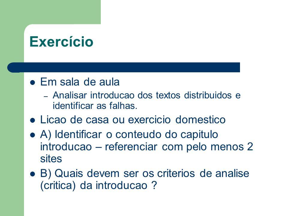 Exercício Em sala de aula Licao de casa ou exercicio domestico