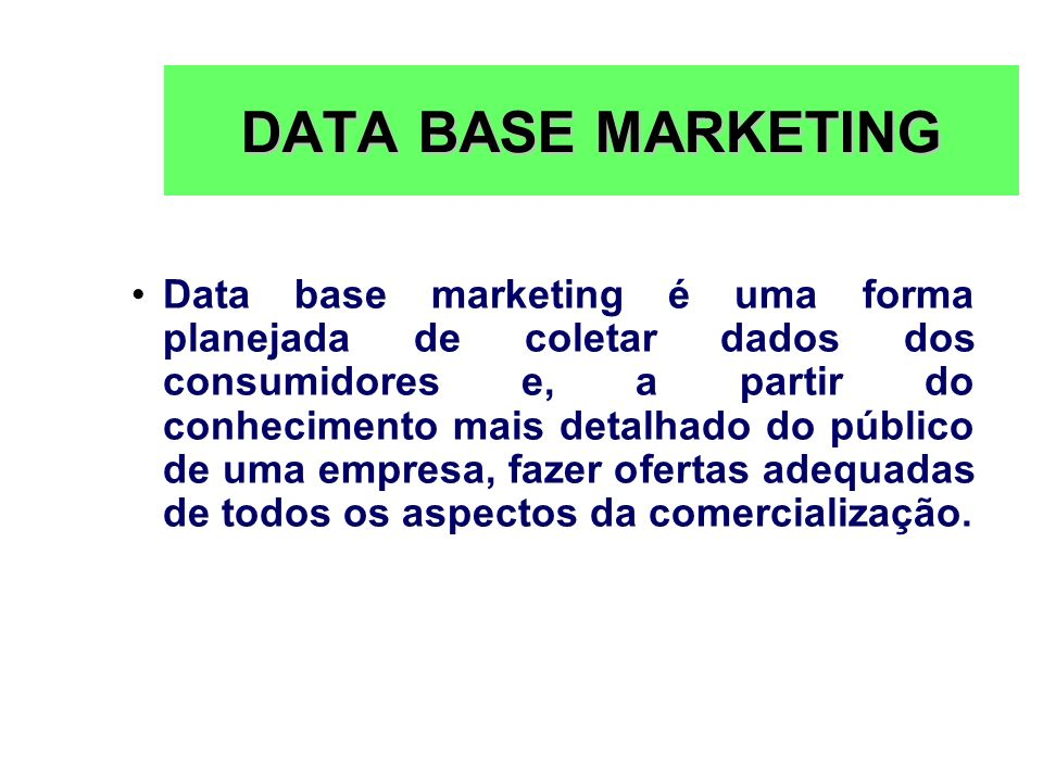 DATA BASE MARKETING