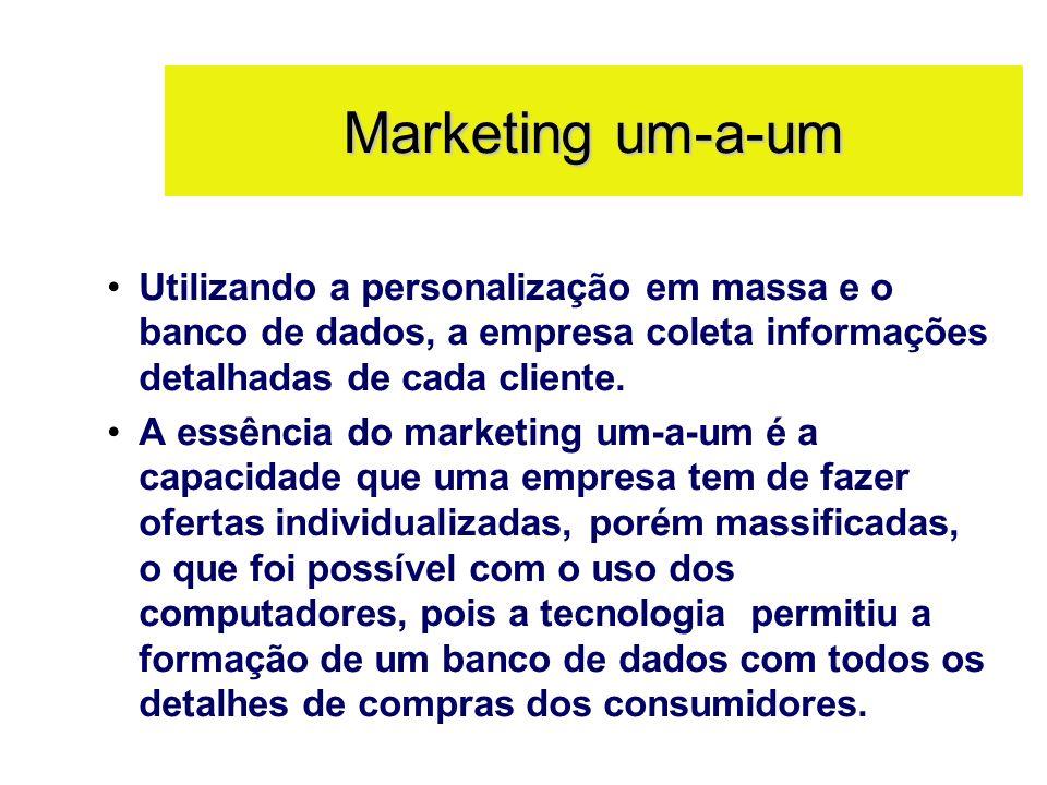 Marketing um-a-umUtilizando a personalização em massa e o banco de dados, a empresa coleta informações detalhadas de cada cliente.
