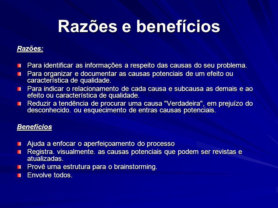 Razões e benefícios Razões: