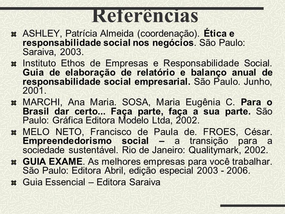 Referências ASHLEY, Patrícia Almeida (coordenação). Ética e responsabilidade social nos negócios. São Paulo: Saraiva, 2003.