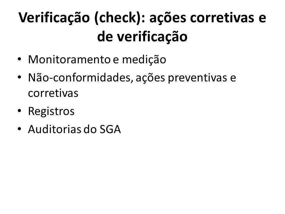 Verificação (check): ações corretivas e de verificação