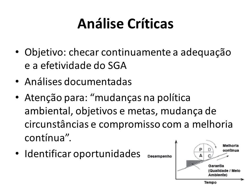 Análise Críticas Objetivo: checar continuamente a adequação e a efetividade do SGA. Análises documentadas.