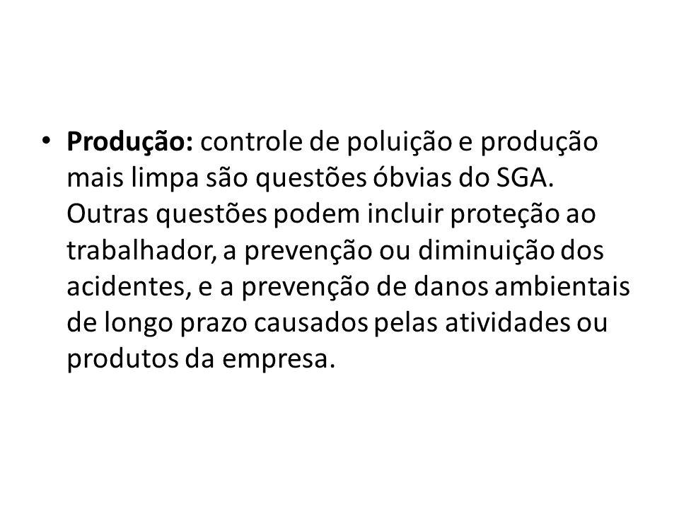Produção: controle de poluição e produção mais limpa são questões óbvias do SGA.