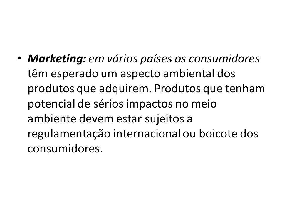 Marketing: em vários países os consumidores têm esperado um aspecto ambiental dos produtos que adquirem.