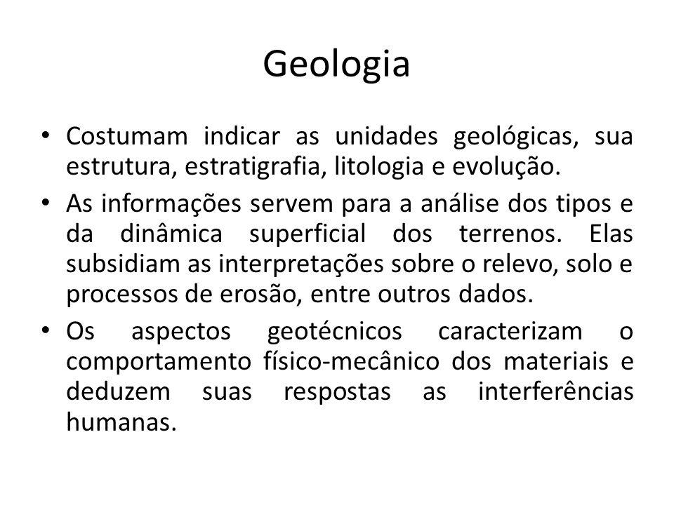 GeologiaCostumam indicar as unidades geológicas, sua estrutura, estratigrafia, litologia e evolução.