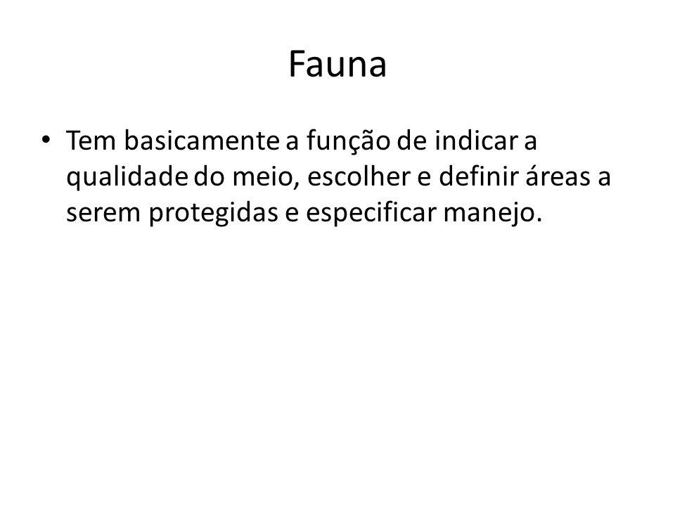 Fauna Tem basicamente a função de indicar a qualidade do meio, escolher e definir áreas a serem protegidas e especificar manejo.