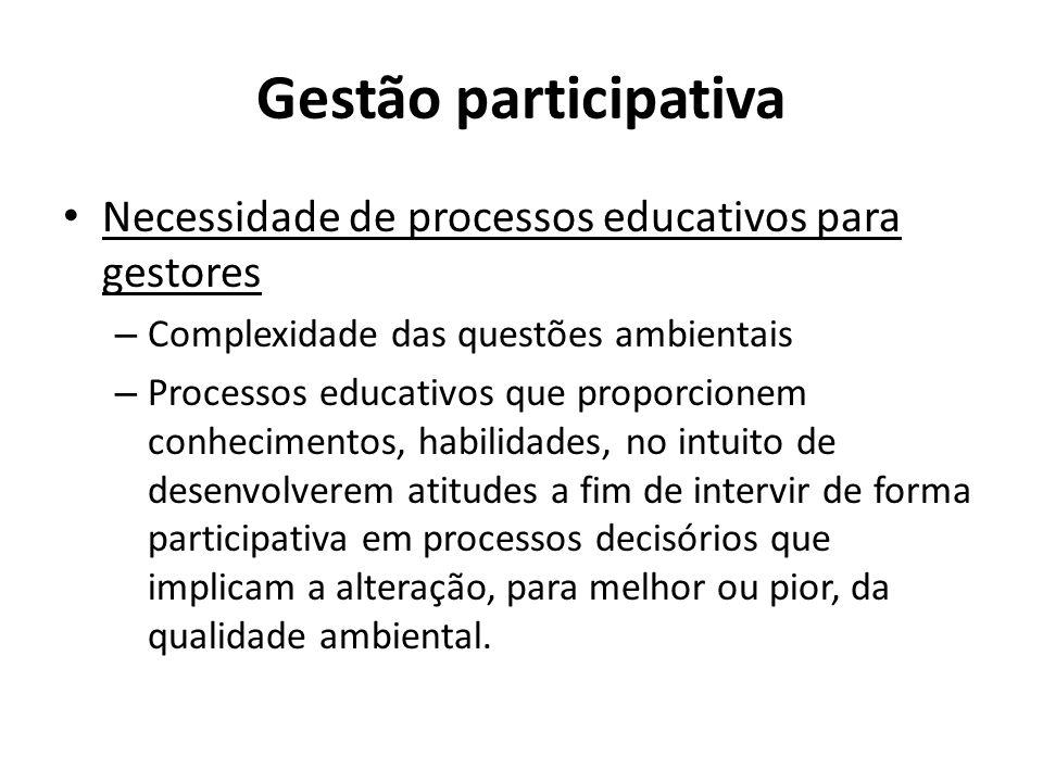 Gestão participativa Necessidade de processos educativos para gestores