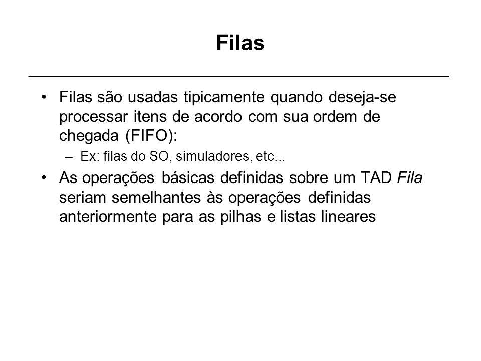 Filas Filas são usadas tipicamente quando deseja-se processar itens de acordo com sua ordem de chegada (FIFO):