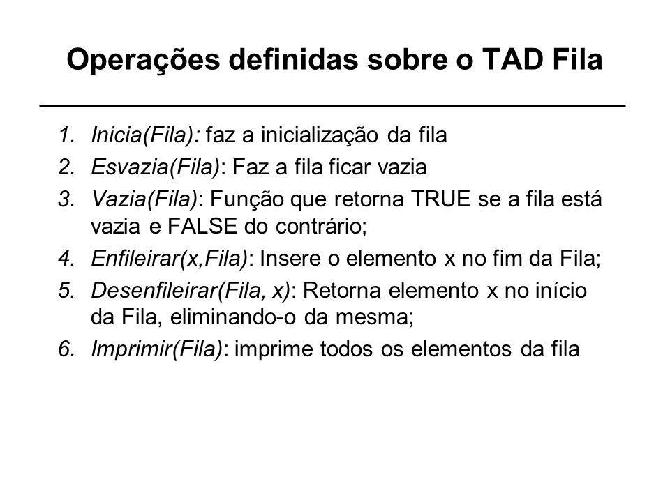 Operações definidas sobre o TAD Fila