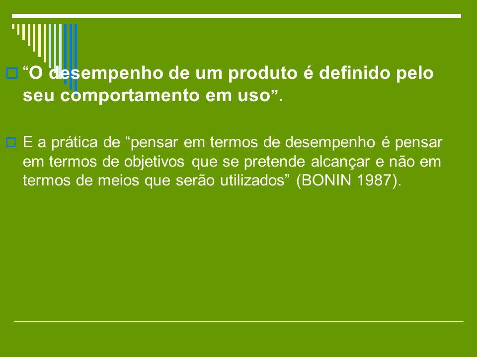 O desempenho de um produto é definido pelo seu comportamento em uso .